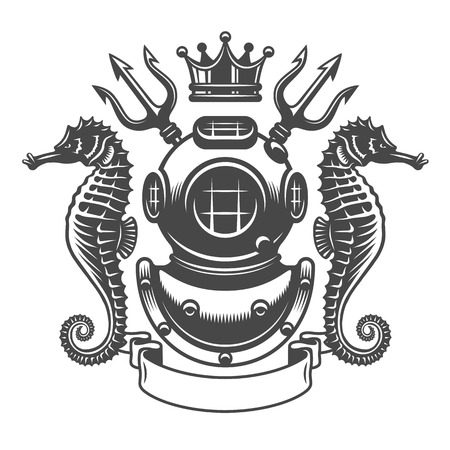 monochrome diving label emblem. Isolated on white