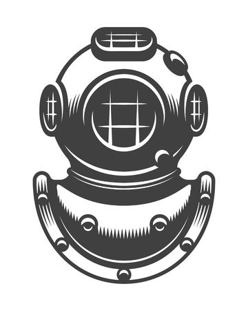 Vintage nautical diving helmet Monochrome style isolated Çizim