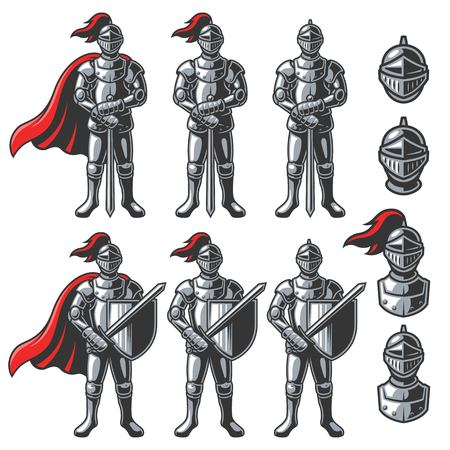 Set of color knights in different poses on white background.