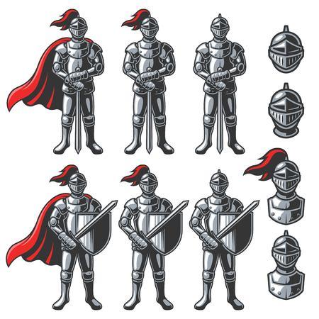 Set Farben Ritter in verschiedenen Posen auf weißem Hintergrund. Standard-Bild - 69102342