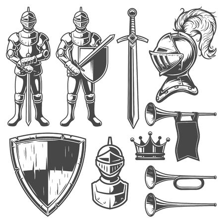 roman soldier: Set of vintage monochrome elements