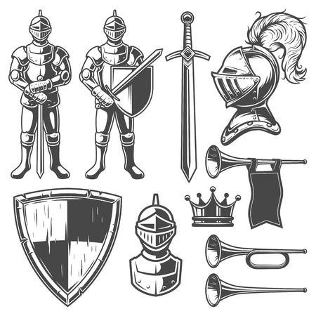 swordsman: Set of vintage monochrome elements