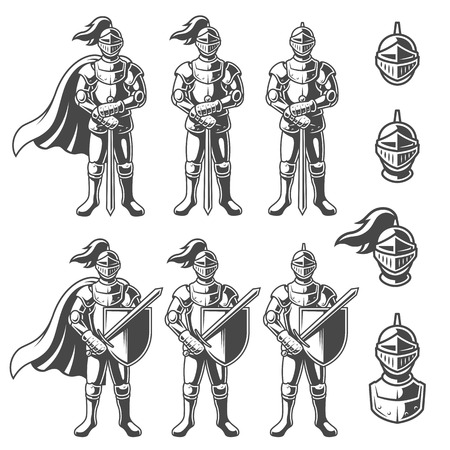 Set of monochrome knights in different poses on white background. Illustration