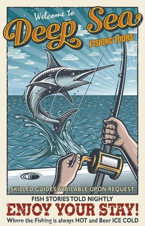 Uitstekende diepzee visserijaffiche met handen die hengel houden, zwaardvis in de open zee op de boot vangen. Met grunge textuur. Gelaagde, afzonderlijke tekst en textuur.