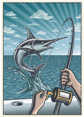 Fond de pêche hauturière vintage avec les mains tenant une canne à pêche, attraper des espadons en pleine mer sur le bateau. Avec texture grunge Texture en couches, séparée.