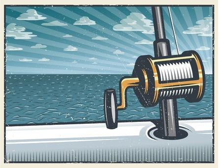 開かれた海でボートに乗って釣りロッドとビンテージの深海釣りの背景。グランジ テクスチャ。階層化された別のテクスチャです。  イラスト・ベクター素材