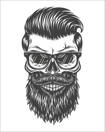 Monochrome illustration of skull with beard, mustache, hipster haircut and glasses with transparent lenses. Isolated on white background