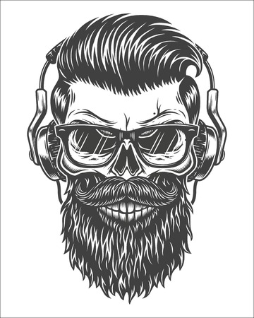 Monochrome illustration of skull with beard, mustache, hipster haircut, glasses with transparent lenses and headphones. Isolated on white background.