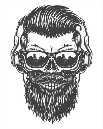Monochrome illustration of skull with beard, mustache, hipster haircut, sunglasses with big city reflection and headphones. Isolated on white background Ilustracja