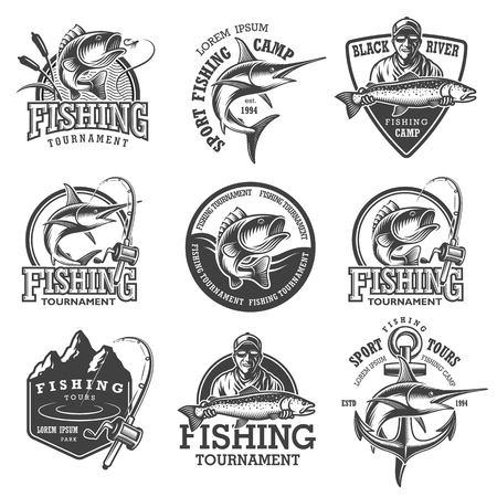 Set of vintage fishing emblems