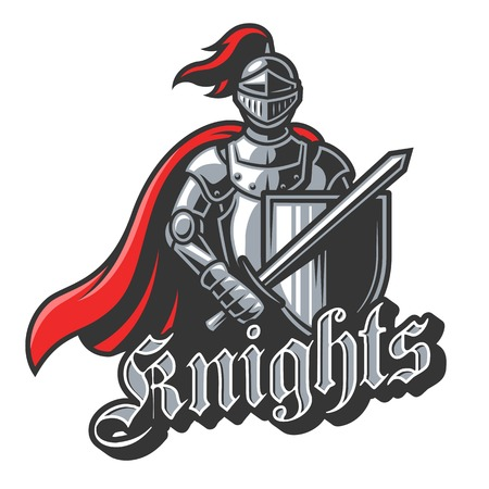 Color knight sport on white background. Perfect for sport team mascot. Illustration