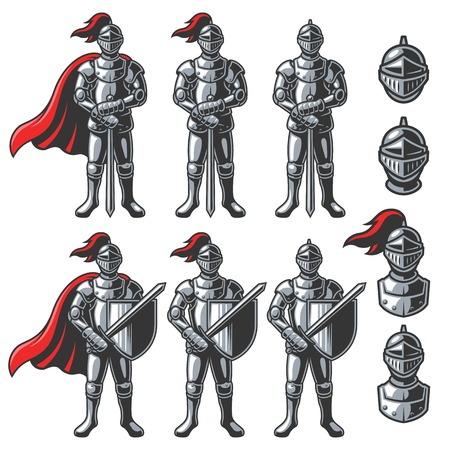 swordsman: Set of color knights in different poses on white background.