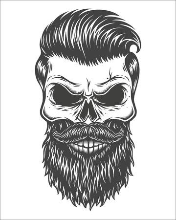 Illustrazione monocromatica del teschio con barba, baffi, taglio di capelli hipster. Isolato su sfondo bianco Vettoriali