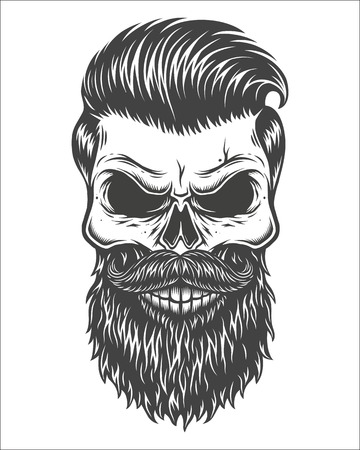 Monochrome illustration of skull with beard, mustache, hipster haircut. Isolated on white background