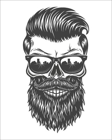 Monochrome illustration of skull with beard, mustache, hipster haircut and sunglasses with big city reflection. Isolated on white background Vettoriali