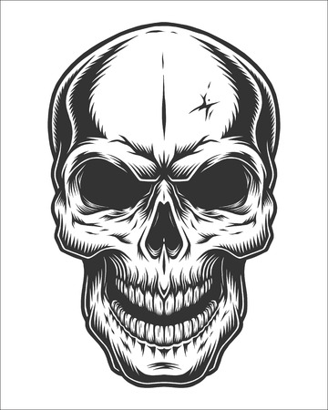 Monochrome illustration of skull. On white background Ilustração