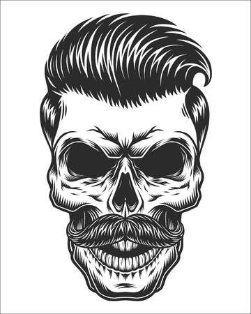 Monochrome illustration of skull with mustache, hipster haircut. Isolated on white background