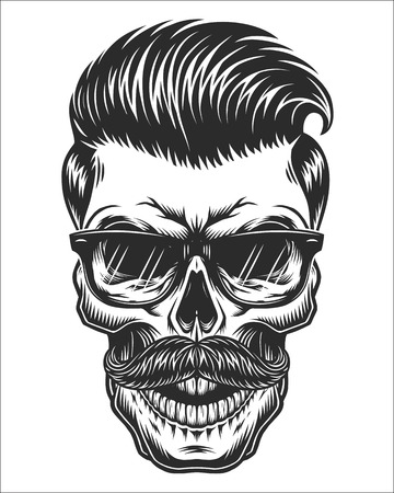 Monochrome illustration of skull with mustache, hipster haircut and glasses with transparent lenses. Isolated on white background Vettoriali