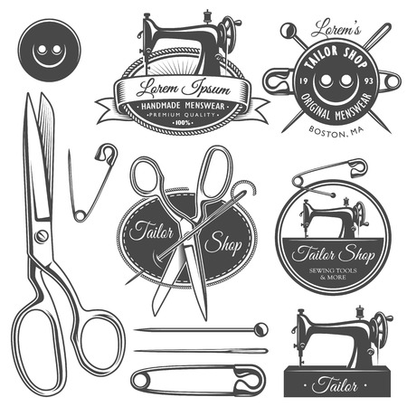 Set of vintage monochrome tailor tools and emblems.