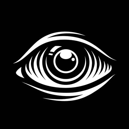 Monochrome vector illustration of eye isolated on dark background