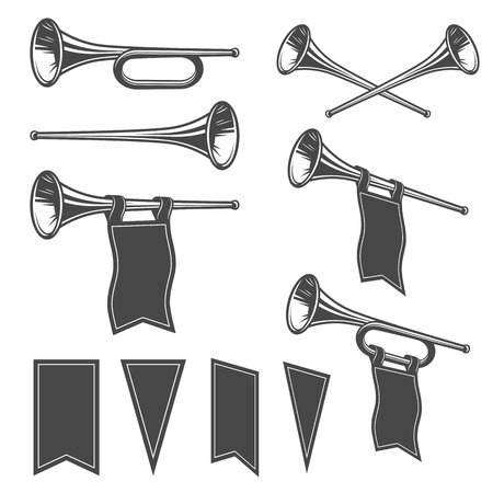 Set of monochrome fanfares with flags.