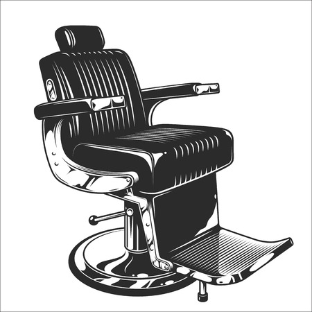 Monochrome illustration of barbershop chair. Leather with chrome elements. Isolated on white background