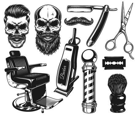 Zestaw klasycznych narzędzi i elementów monochromatycznych fryzjera. Pojedynczo na białym