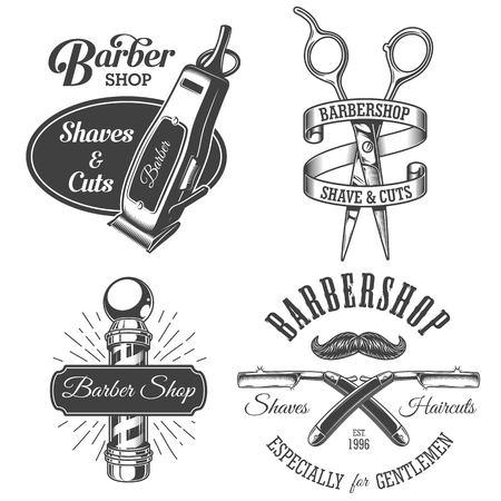 barbershop: Set of vintage barbershop emblems