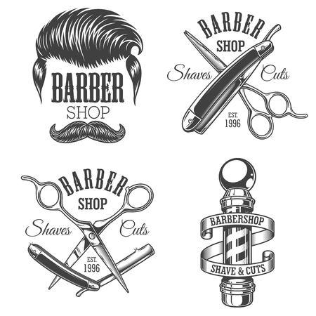 Set Vintage Friseurladen Embleme Standard-Bild - 69102835