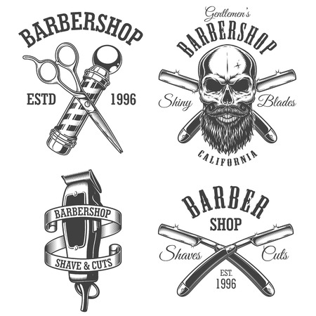 Set of vintage barbershop emblems