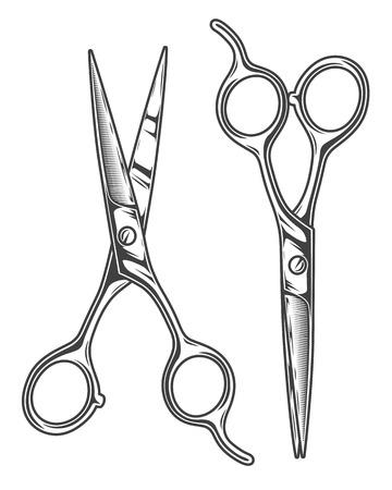 barber scissors: Monochrome illustration of chrome barber scissors. Isolated on white background