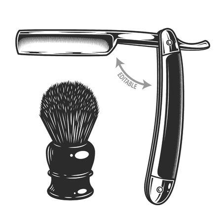Zwart-wit illustratie van scheermes en scheerborstel. Geïsoleerd op witte achtergrond Stock Illustratie