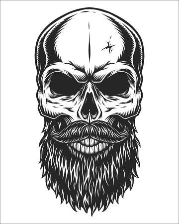 Monochromatyczny ilustracja czaszki hipster z wąsami i brodą. Pojedynczo na białym tle Ilustracje wektorowe