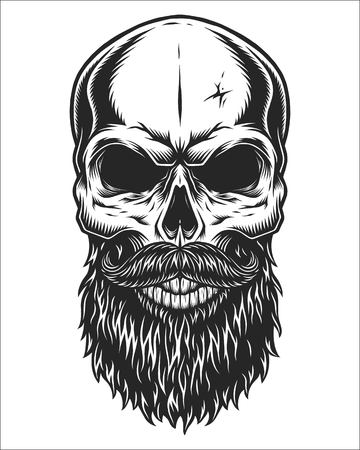 Monochrome illustration of hipster skull with mustache and beard. Isolated on white background