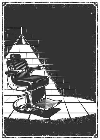 Vintage barbershop background with barber chair, lamp, light and shadow, brick wall. Black and white