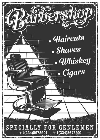 Vintage barbershop poster with barber chair, text, and grunge texture Çizim