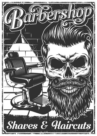 Vintage barbershop poster with barber chair, skull, text, and grunge texture