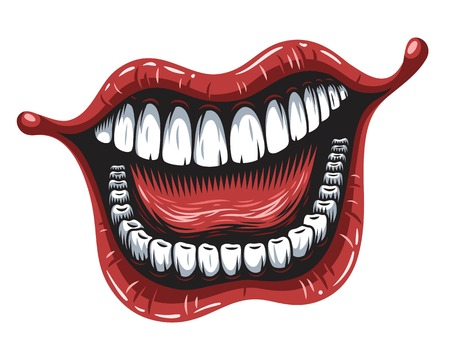 Illustration of smiling mouth patch isolated on white background