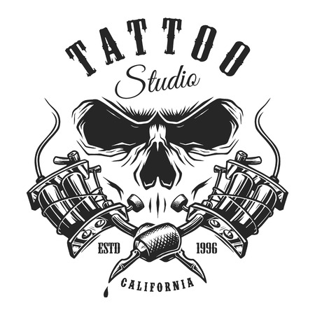 Tattoo studio emblem with tattoo machines and skull. Monochrome line work. Isolated on white background. layered Foto de archivo
