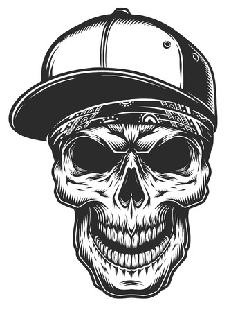 Illustration of skull in bandana and baseball cap. Monochrome line work. Isolated on white background