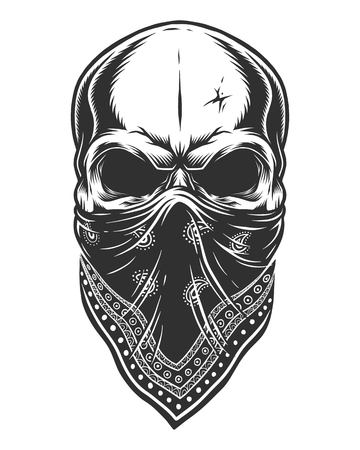 Illustration von Schädel in Bandana auf Gesicht. Monochrome Linienarbeit. Isoliert auf weißem Hintergrund