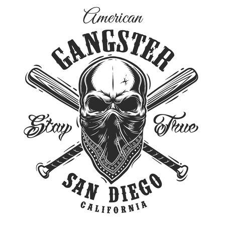 Gangster emblem, label, print, badge with skull in bandana and crossed baseball bats Foto de archivo