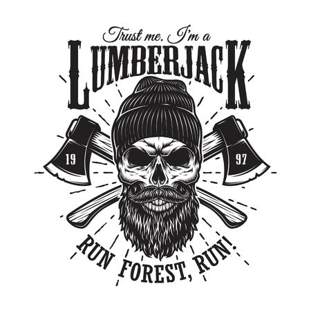 Vintage hipster lumberjack emblem with crossed axes behind the skull in beanie, with beard and moustache. Sunburst on background. Monochrome, isolated on white background. Stockfoto