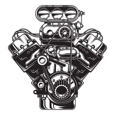 Isolated illustration of car engine on white layout.