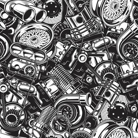 Automóvil patrón de las piezas del coche con la disposición de elementos en blanco y negro. Ilustración de vector