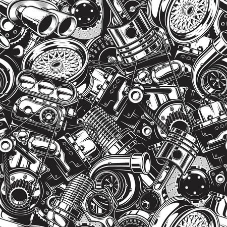 Samochodów samochodowych części wzór z układu elementów czarno-białych. Ilustracje wektorowe