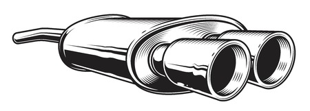Isolated illustration of car exhaust pipe on white layout.