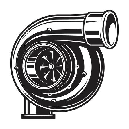 Ilustración aislada del turbocompresor del coche.
