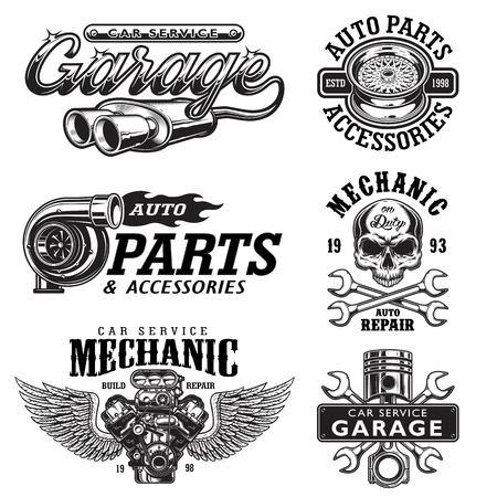 Zestaw szablonów usługi monochromatyczne auto naprawy emblematów, etykiet, odznak i logo.