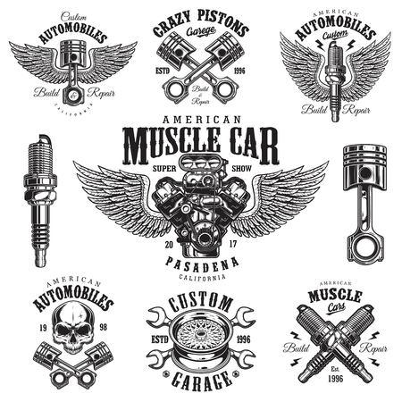Zestaw szablonów usług naprawy samochodów monochromatycznych vintage emblematów, etykiet, odznak i logo. Pojedynczo na białym tle. Idealny do nadruku na koszulkach. Logo